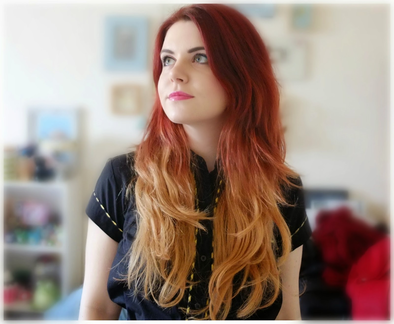 Beauty Works red ombre dip dye hair extensions on Hello Terri Lowe, UK beauty blog.