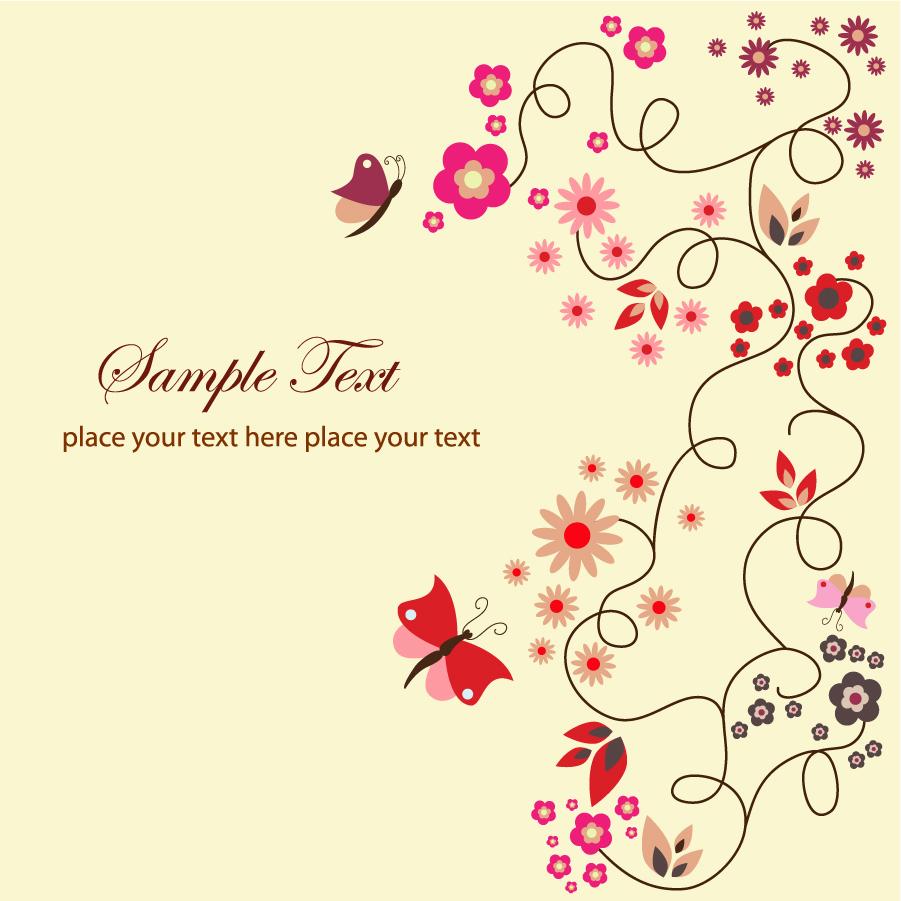 花と蝶のシンプルな背景 Floral Greeting Card イラスト素材