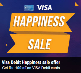 BookMyShow Rs. 100 off with First Time Visa Debit Card Payment