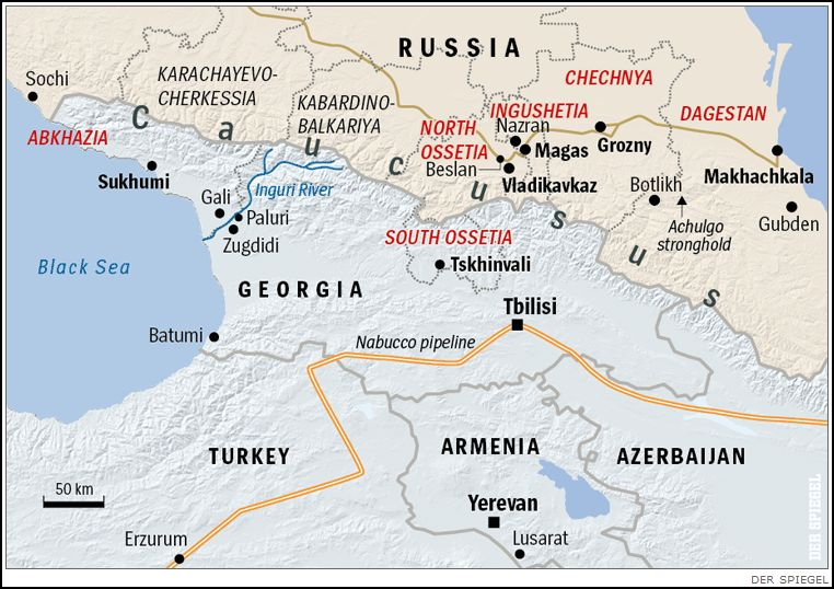 Map Of Abkhazia North And South Ossetia Ingushetia Chechnya - South ossetia map