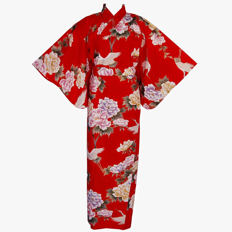 red crane kimono