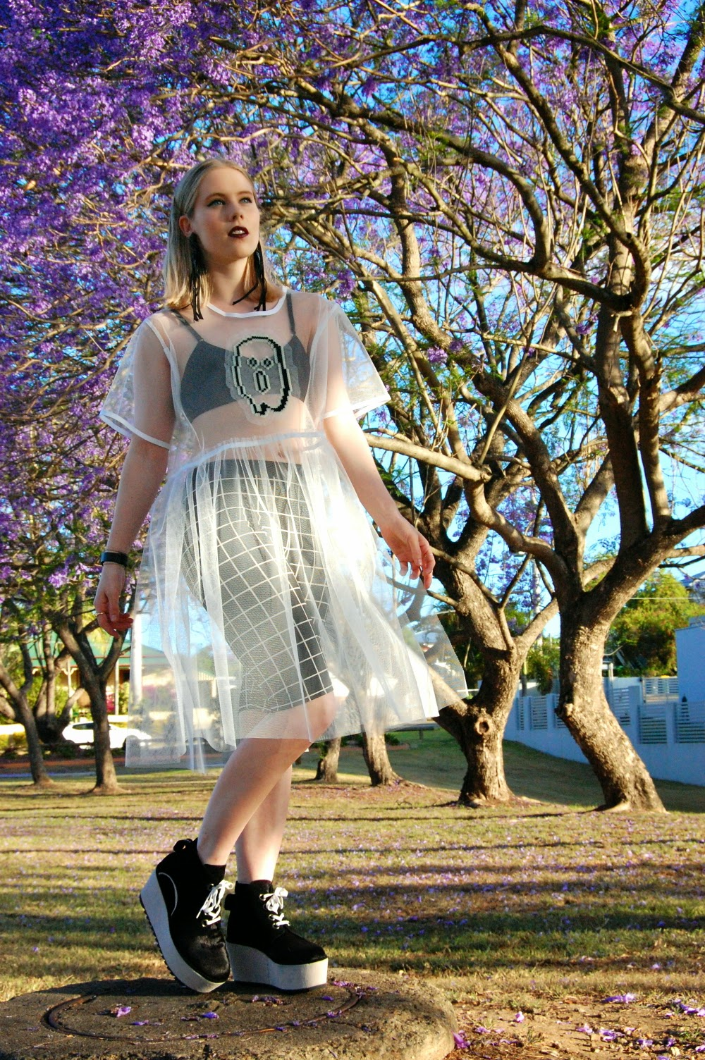 outsideiscolours fashion blog, outside is colours outfit, pip o'sullivan, ootd, halloween outfit, somewhere nowhere boo mesh dress, ghost dress, white mesh dress, fashionable halloween costume, degen flatforms, solestruck degen sumner platforms, black platform sneakers, laceup flatform shoes, front row shop grid shorts