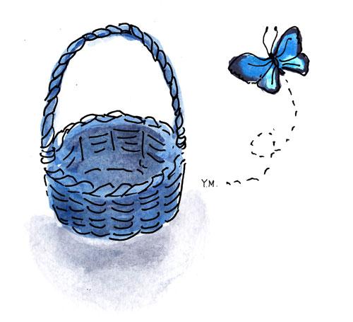 Basket and butterfly by Yukié Matsushita