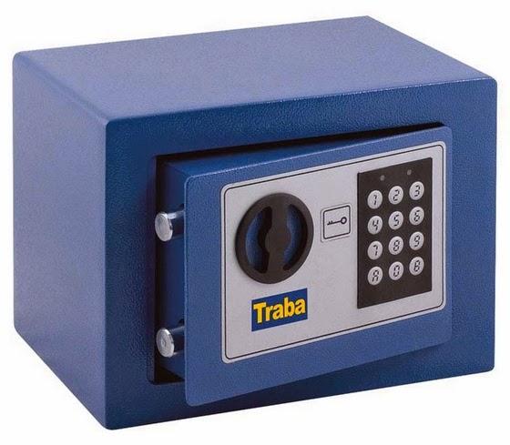 caja fuerte azul abierta