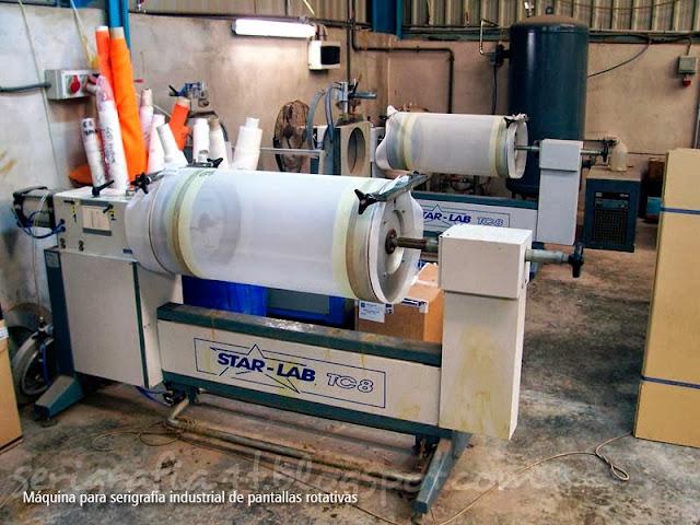 Máquina de serigrafía industrial de pantallas rotativas