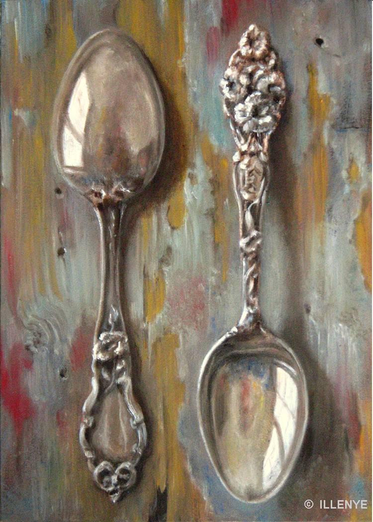 Jeanne Illenye Still Lifes Sterling Silver Spoons Oil Painting Blue Peeling Paint Rustic Wood
