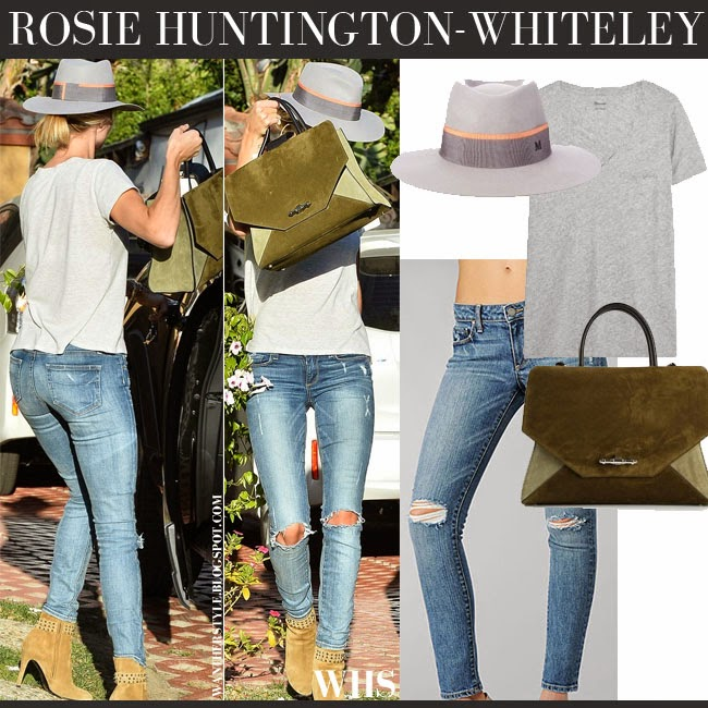 Rosie Huntington-Whiteley in grey t-shirt, blue ripped knee jeans Paige Denim Skyline, grey Maison Michel Charlotte hat and green suede Givenchy Obsedia tote what she wore april 27 casual la style