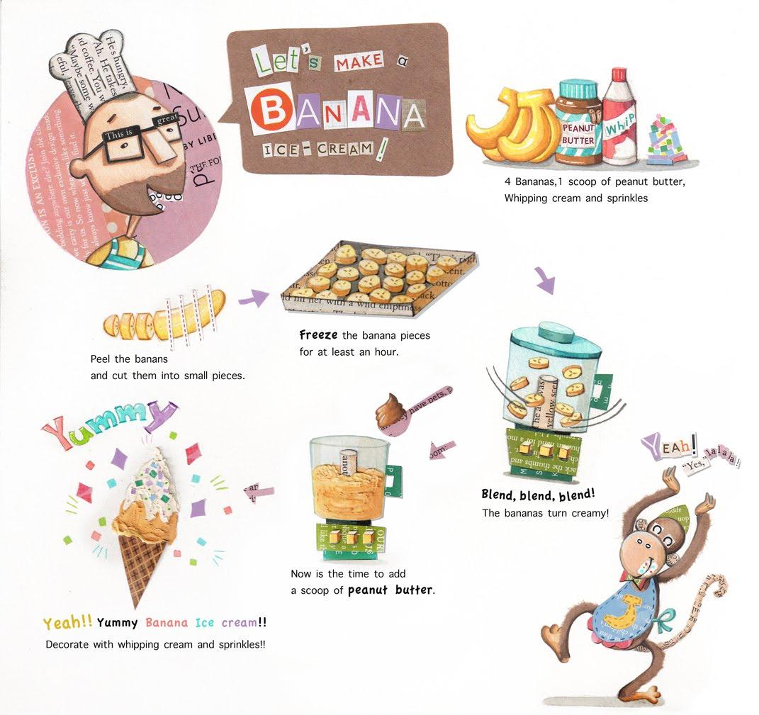 Ye won lee illustration lets make a banana ice cream lets make a banana ice cream ccuart Image collections