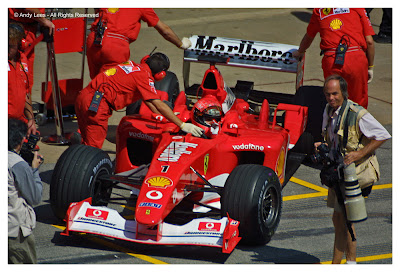 michael schumacher returns to pit, spanish grand prix 2002