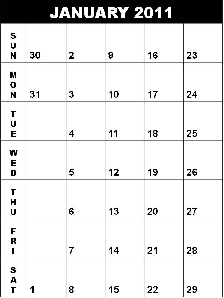 Blank Calendar January 2011 or Blank Planner January 2011
