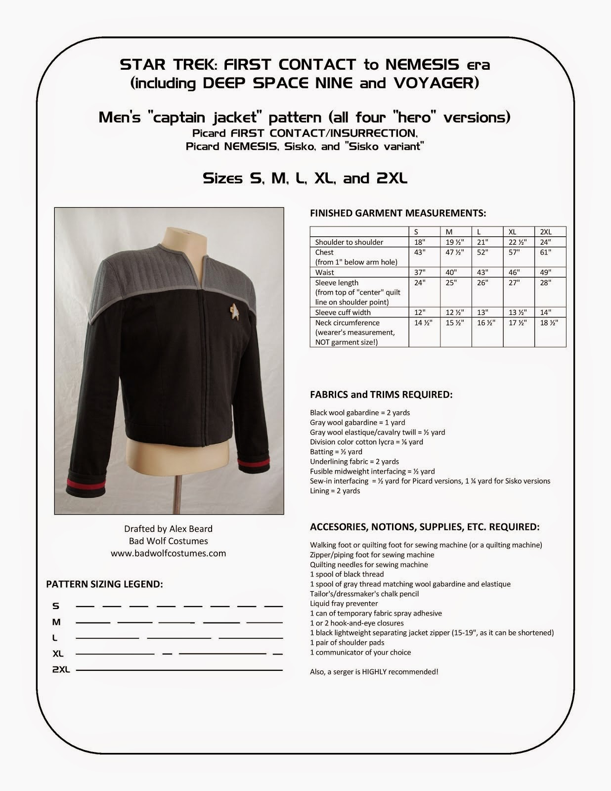 "Star Trek: DS9/NEM Men's ""Captain Jacket"" Sewing Pattern"