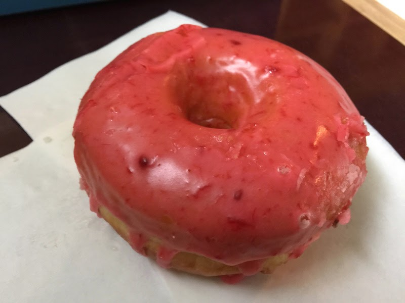 Raised raspberry rain donut at Top Pot Doughnuts in Seattle
