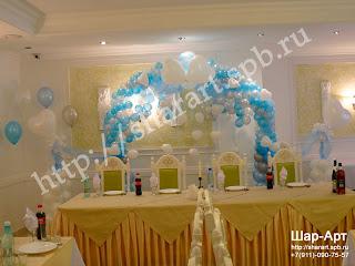оформление свадьбы ваздушными шарами, арка из шаров,