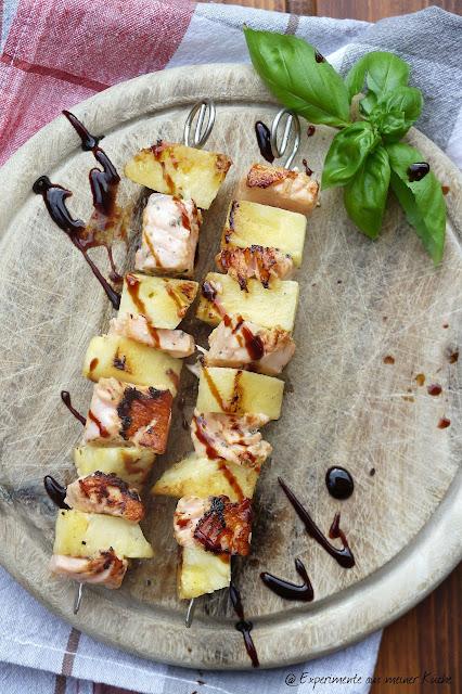 Experimente aus meiner Küche: Ananas-Lachs-Spieße vom Grill