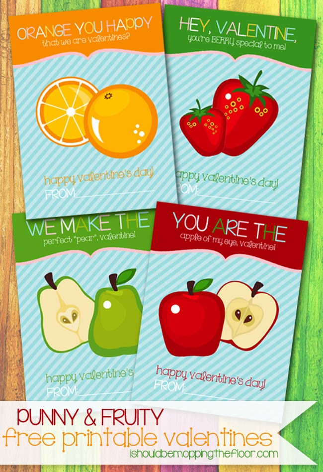 i should be mopping the floor: {Punny Fruit} Free Printable Valentines