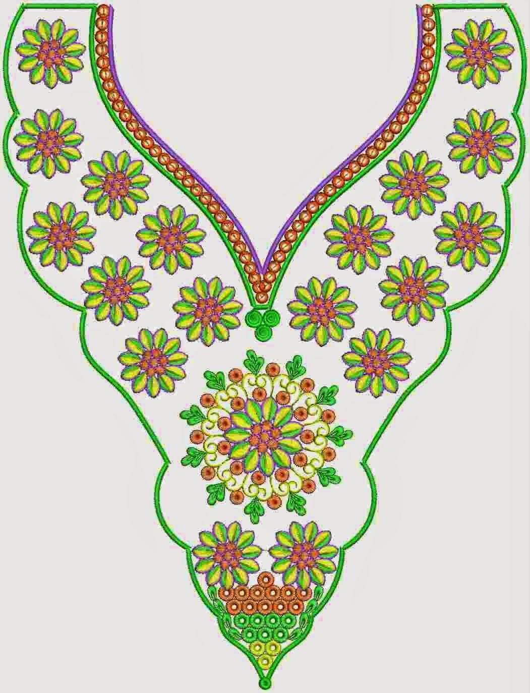 weerlig kleur borduurwerk nek ontwerp