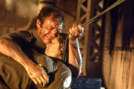 Ernest Borgnine crying over a dead Shelley Winters in The Poseidon Adventure