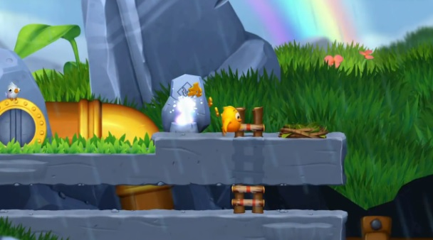 Screenshot of Wii U version of Toki Tori 2