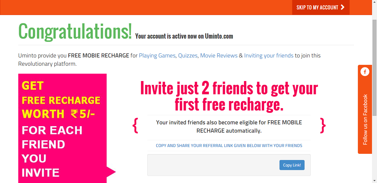 free 10 Rs recharge