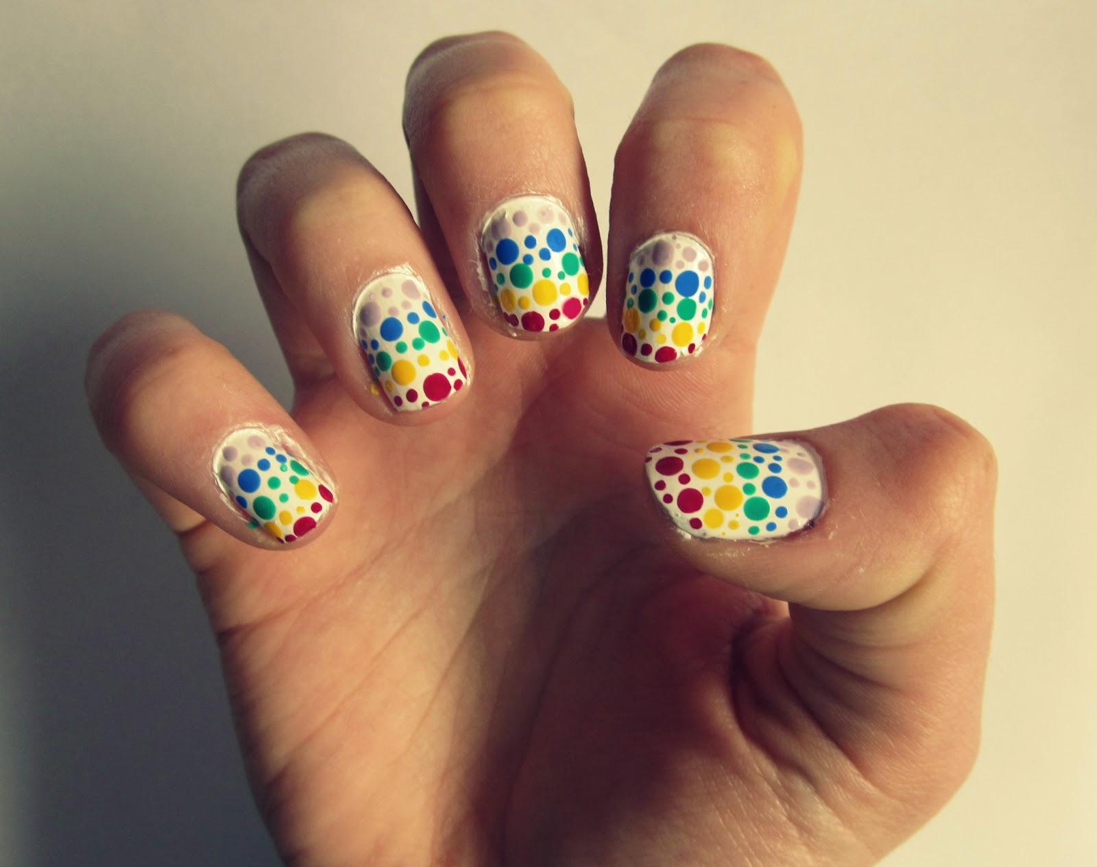 Polkadot Rainbow Nail Art