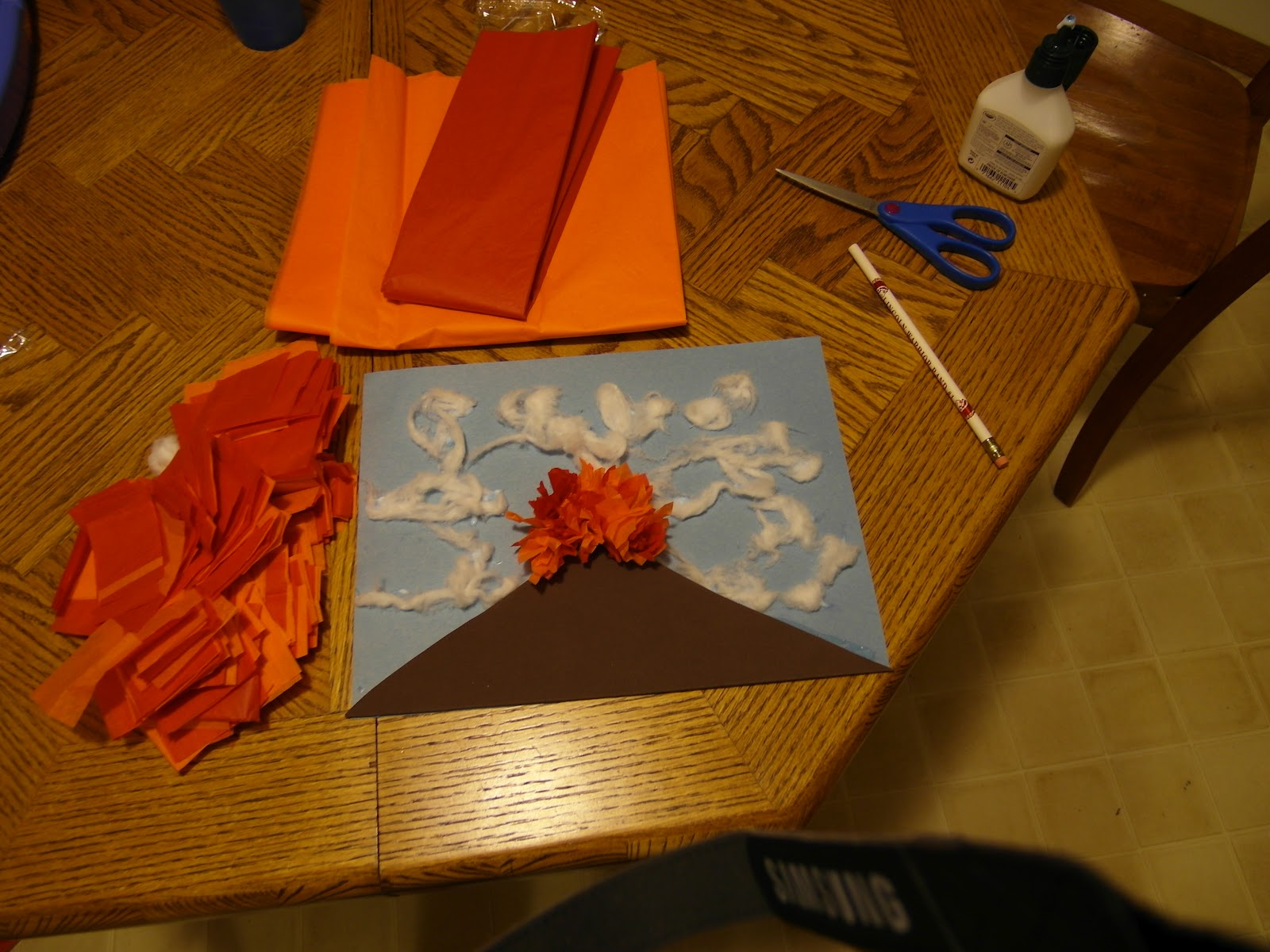 Volcano Craft With Bean on Preschool Crafts