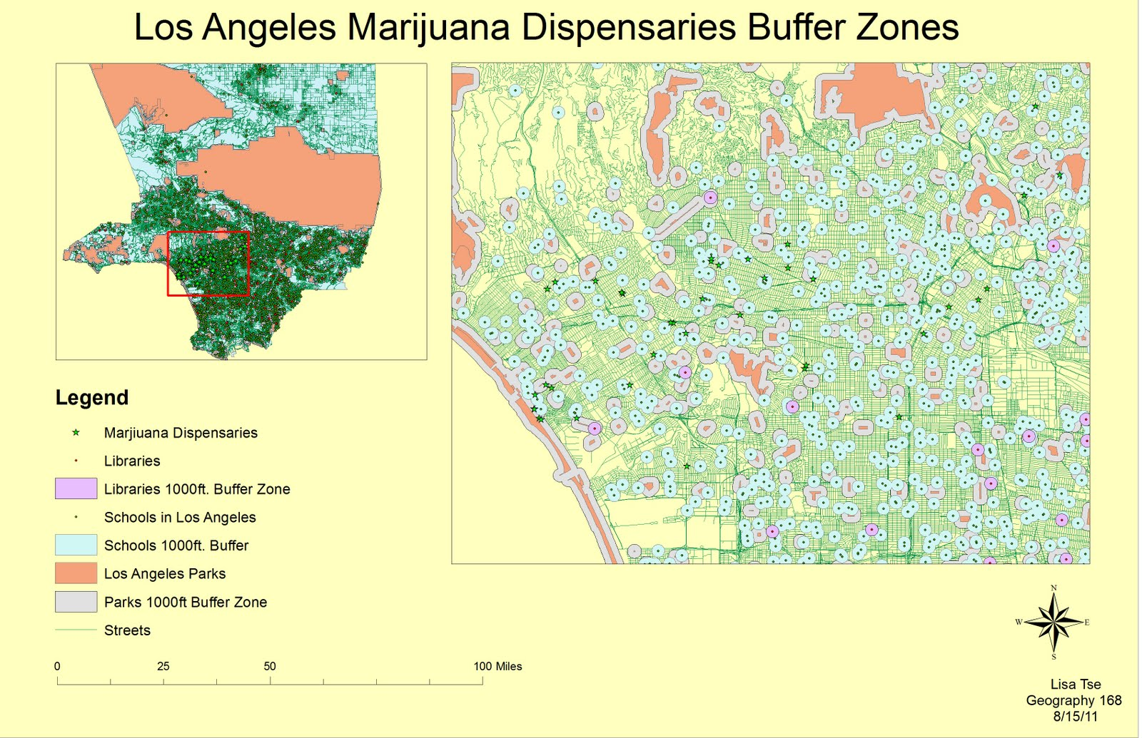 in this map i geocoded the marijuana dispensaries located in los angeles i added 1000 feet buffer zones surrounding the schools libraries