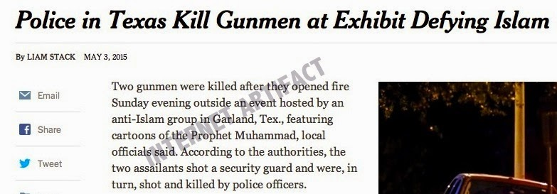 Gunman at Garland - New York Times headline