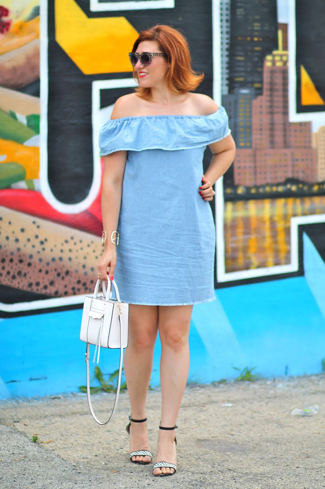 blue, off, shoulder, dress