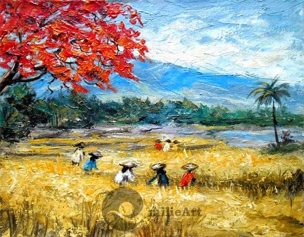 lukisan pemandangan panen padi