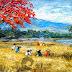 Lukisan Pemandangan Panen Padi MP-074
