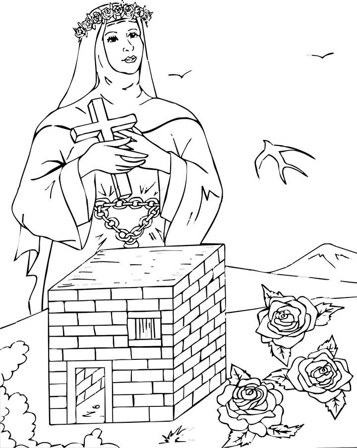 Santa Rosa de Lima y en su ermita colorear