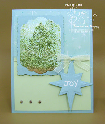 Picture of my handmade evergreen trees Christmas card with a Joy tag