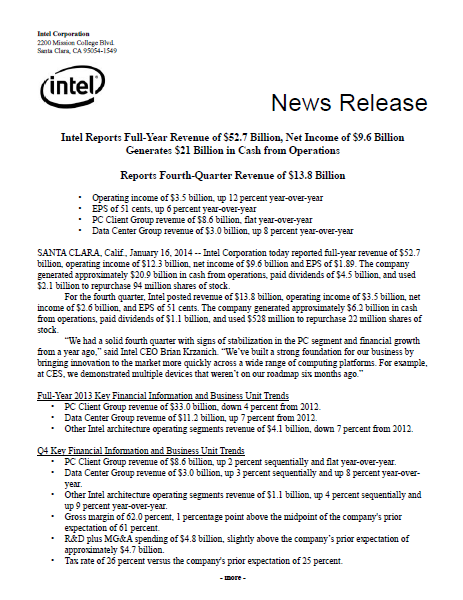Intel, report, annual, 2013, Q4