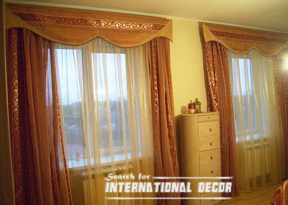 luxury bedroom curtains of gold pleated fabric