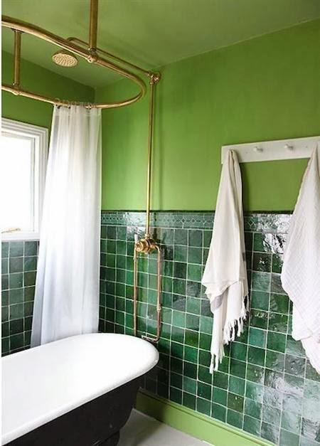 Baño Verde Con Blanco:Baños verdes – Colores en Casa