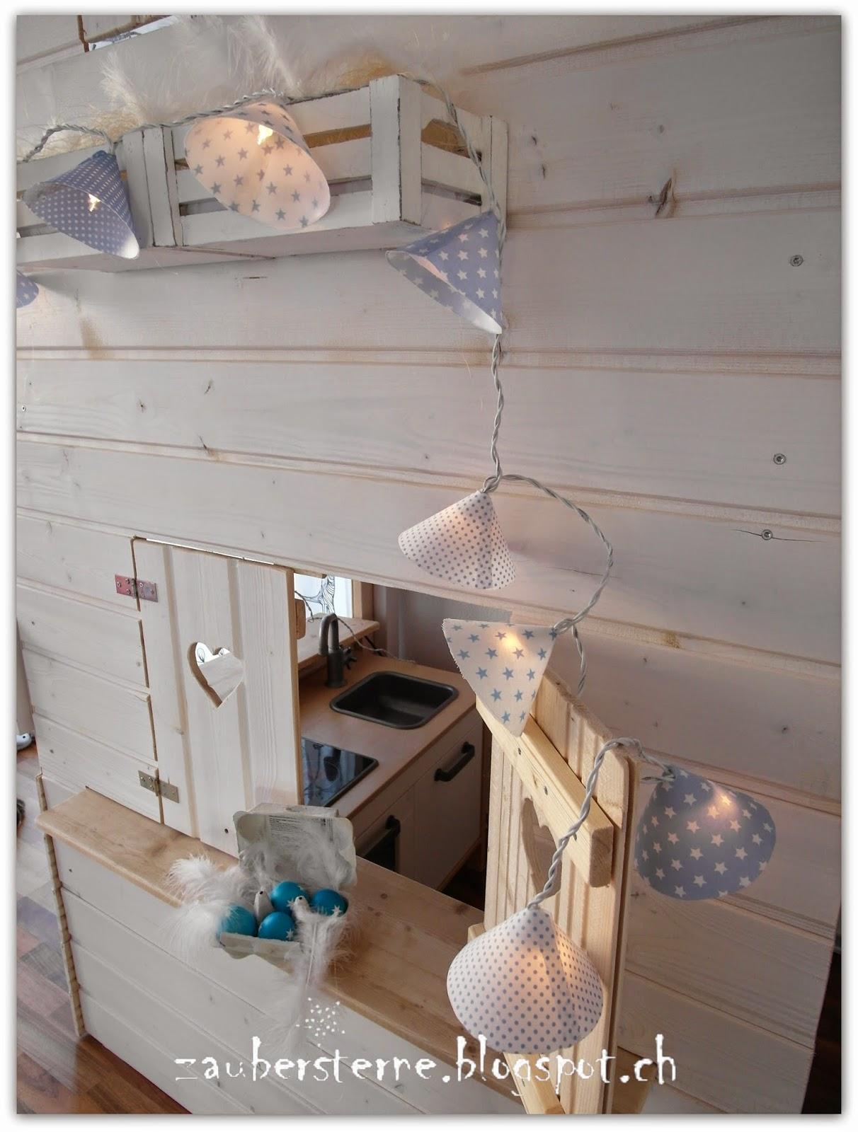 DIY Lichterkette, Kinderbett, Kinderhochbett, Hochbetthaus