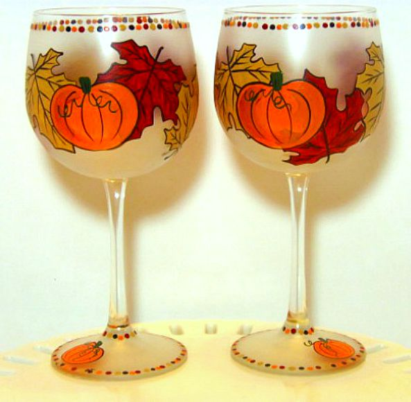Autumn Leaves and Pumpkins Painted Wine Glasses