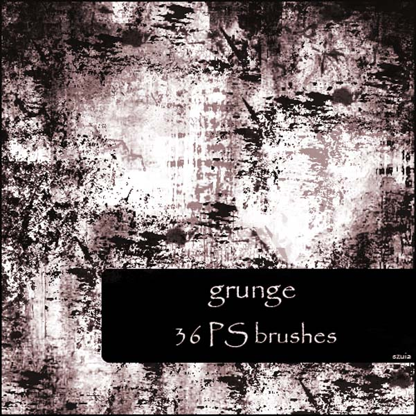 grunge brushes by szuia 30 Must Have Grunge Photoshop Brushes Collection Set