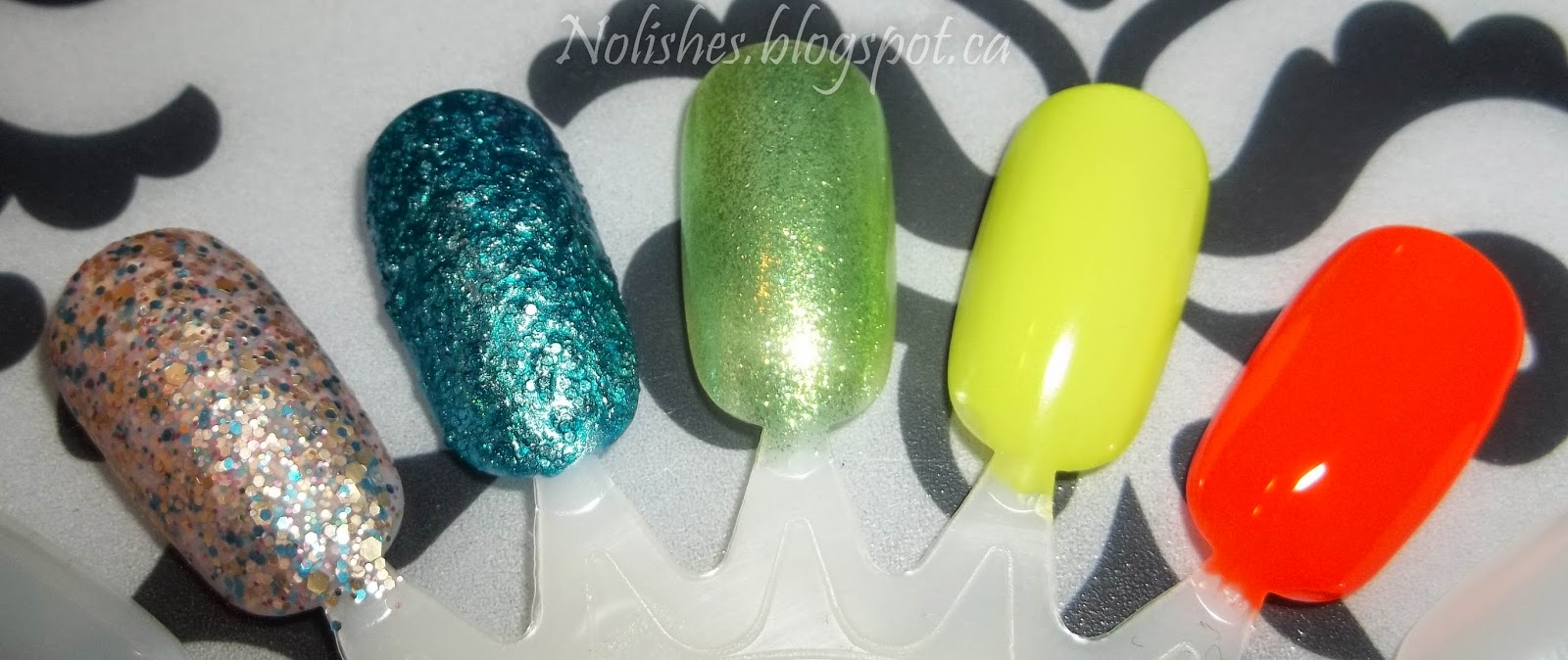 'Hollywood Decadence' is a muted, matte glitter with silver pink and blue, 'Tails of Love' is a textured teal polish, 'Margarita Mambo' is a shimmery lime green, 'Mistful Thinking' is a soft greenish yellow with a matte finish, and 'Kitchy Tangerine' is a slightly reddish orange.