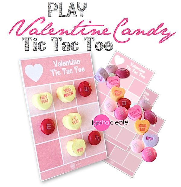 Play #Valentine Tic Tac Toe with candy pieces! | Free #printable at I Gotta Create!