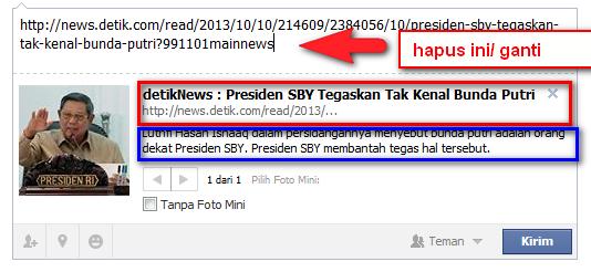Membuat Judul Berita berubah dari link aslinya, cara edit link agar di share ke facebook berubah deskripsi dan judul linknya.