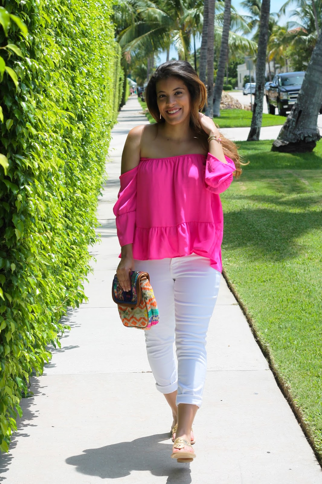 Hot Pink Off the Shoulder Top and White Jeans