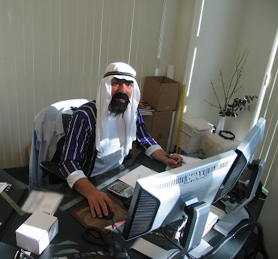 GotPrint halloween 2011 arab costume at his desk