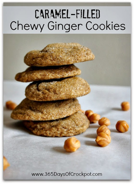 Chewy, caramel-filled, soft ginger cookies.  These cookies are so addicting!  Perfect texture and taste!