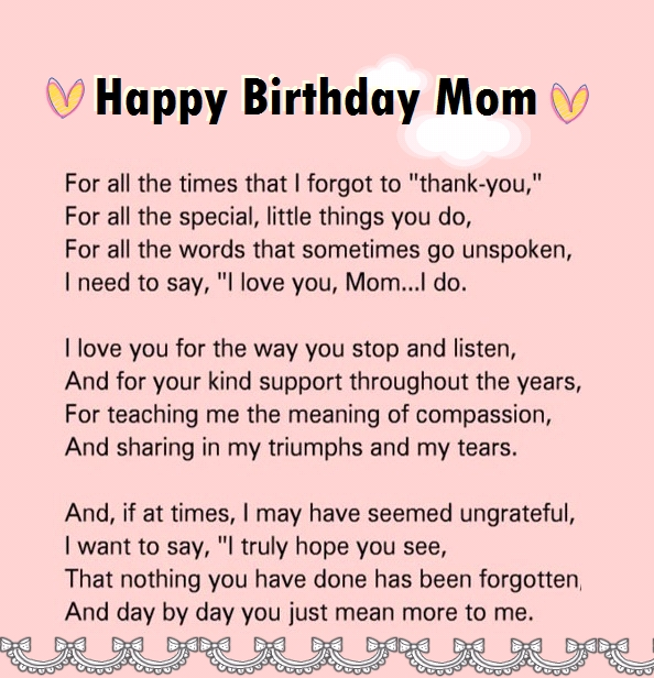 Lovely Happy Birthday Letter To Mom From Son
