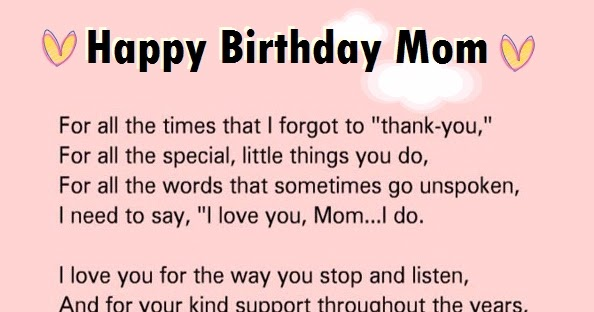 Lovely Happy Birthday Letter To Mom From Son Words Of