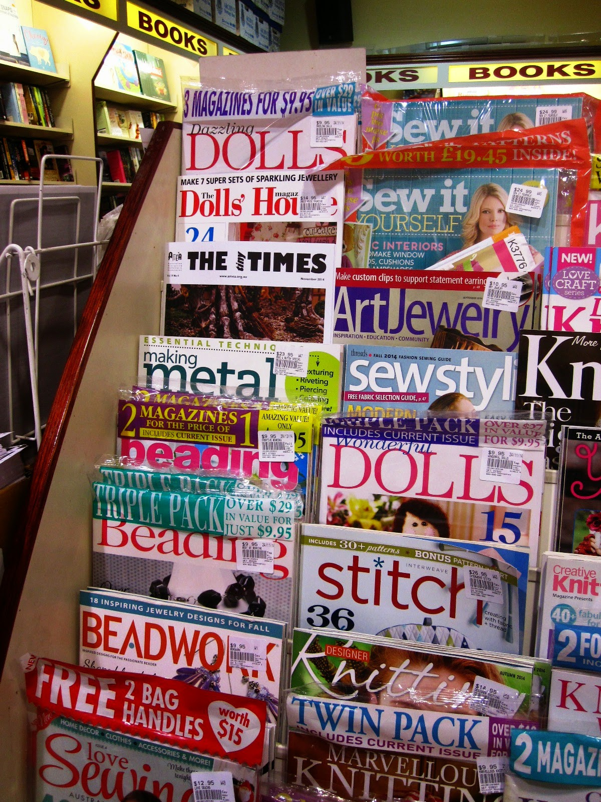 Display of craft magazines at a newsagents.