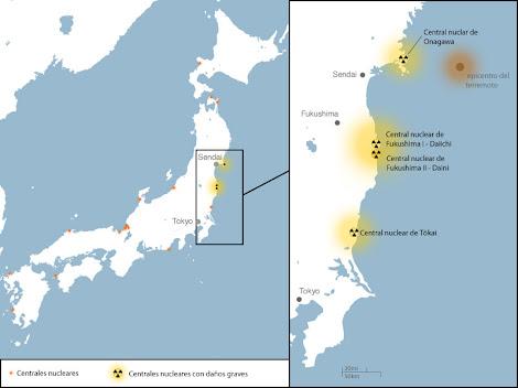 Mapa Centrales Nucleares Japon