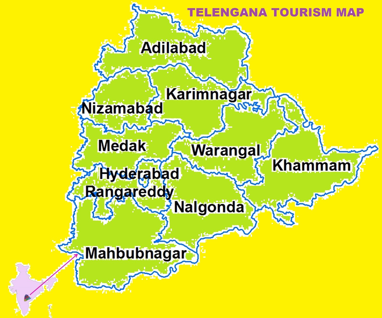 STUNNING TOURIST LOCATIONS IN TELENGANA – South India Map With Tourist Places