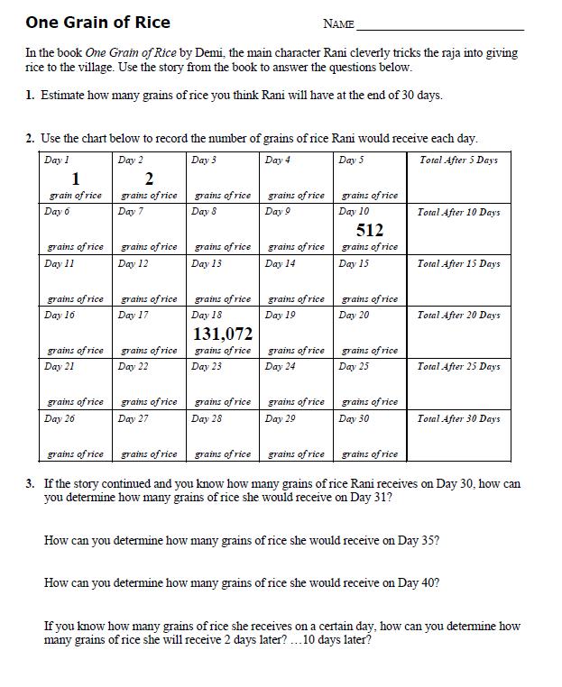 One Grain Of Rice Worksheet Answers - one grain of rice worksheet ...
